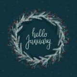 Bonjour carte de voeux de lettrage de main de janvier Calligraphie moderne Guirlande d'hiver Photo stock