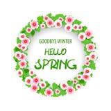 Bonjour carte de voeux florale de modèle de ressort Image stock