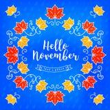 Bonjour carte moderne de novembre Fond d'automne, cadre des feuilles d'érable Image stock