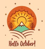 Bonjour carte postale saisonnière d'octobre avec des éléments de paysage illustration stock