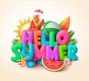 Bonjour conception de bannière des textes d'été avec les éléments colorés d'été illustration de vecteur