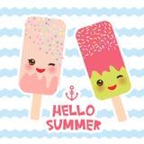 Bonjour crème glacée d'été, esquimau, Kawaii avec les joues et les yeux roses de cligner de l'oeil, design de carte de couleurs e illustration libre de droits