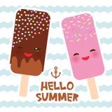 Bonjour crème glacée d'été, esquimau, Kawaii avec les joues et les yeux roses de cligner de l'oeil, design de carte de couleurs e illustration de vecteur