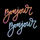 Bonjour 3D slogan modern Fashion Slogan for T-shirt graphic vector Print. Set illustration design tee girl text apparel beautiful card drawing feminine grunge stock images