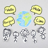 Bonjour dans différentes langues étrangères globales internationales Bonjour Ciao Hola Photographie stock libre de droits