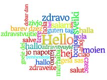 Bonjour dans les langues multiples &#x28 ; Word Cloud&#x29 ; Photos stock