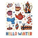 Bonjour design de carte de salutation d'hiver, griffonnages drôles illustration de vecteur