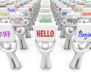 Bonjour différentes langues de mots saluant la diversité de culture du monde Images libres de droits