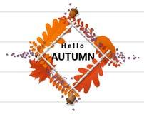 Bonjour fond d'automne avec la guirlande décorative sur le conseil en bois Image stock