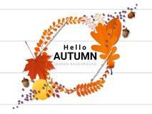 Bonjour fond d'automne avec la guirlande décorative sur le conseil en bois Photographie stock libre de droits