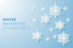 Bonjour fond de conception d'hiver Chutes de neige d'origami illustration de vecteur