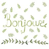 Bonjour french sign with nature leaf ornamen. Bonjour french sign with nature art leaf ornamen watercolor design arounf Royalty Free Stock Photo