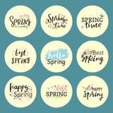 Bonjour graphique tiré par la main de ressort de typographie spéciale de printemps de carte de voeux des textes de lettrage de ve illustration libre de droits