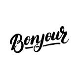 Bonjour hand written lettering. Modern brush calligraphy for greeting card, print. Isolated on white background. Vector illustration Royalty Free Stock Photography