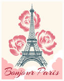 Bonjour or hello Paris retro poster. French spring and summer vector illustration with eiffel tower and flowers for girls fashion design Royalty Free Stock Photos