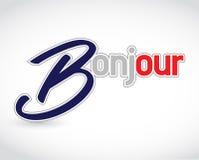 bonjour het Franse teken van het groetbericht Stock Foto