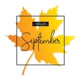 Bonjour inscription de calligraphie de septembre Autumn Banner Template Illustration Libre de Droits