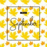Bonjour inscription de calligraphie de septembre Autumn Banner Template Illustration Stock