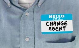 Bonjour je suis des mots de Disruptor Name Tag d'agent de changement Photographie stock libre de droits