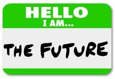 Bonjour je suis le futur changement d'autocollant de Nametag Photos stock