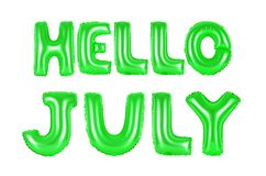 Bonjour juillet, couleur verte Photos libres de droits