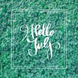 Bonjour juillet salutation pour la décoration photo libre de droits