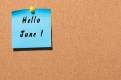 Bonjour juin - note goupillée au panneau d'affichage de liège Premier début de mois d'été Avec l'espace vide pour le texte Photos libres de droits