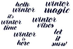 Bonjour l'hiver, magie d'hiver, vibraphone d'hiver, hiver est ici, il est lettrage d'horaire d'hiver illustration libre de droits