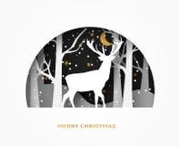 Bonjour le papier d'abrégé sur l'hiver 3d a coupé l'illustration des cerfs communs dans la neige de forêt Lune et étoiles pendant Photos stock