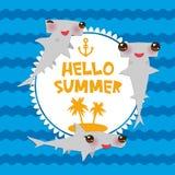 Bonjour le requin gris Kawaii de Winghead de poisson-marteau lisse de bande dessinée d'été avec les joues roses et cligner de l'o Photos stock