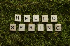 Bonjour le ressort écrit avec les lettres en bois a cubé la forme sur l'herbe verte photo libre de droits