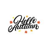 Bonjour lettrage écrit par main d'automne avec les feuilles en baisse de jaune et d'orange Images stock