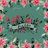 Bonjour lettrage avec les fleurs tirées par la main de ressort de ruban et le fond floral rond de cadre Trame florale décorative  Photos stock