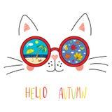 Bonjour lettrage d'automne avec le chat en verres Images stock