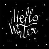 Bonjour lettrage d'hiver Photos stock