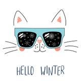 Bonjour lettrage d'hiver avec le chat en verres Photos stock