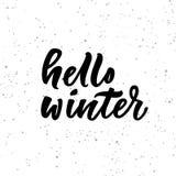 Bonjour lettrage d'hiver sur le fond blanc Image libre de droits