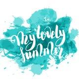 Bonjour lettrage de main coloré par turquoise d'été Photo stock