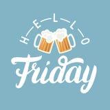 Bonjour lettrage de main de vendredi avec la pinte de bière sur le fond bleu Photo libre de droits