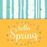 Bonjour lettrage de ressort avec les fleurs et les feuilles plates Fond de forêt de bouleau de ressort Image stock