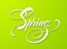 Bonjour lettrage de ressort Calligraphie tirée par la main, fond vert Illustration de vecteur illustration de vecteur