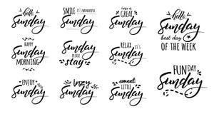 Bonjour lettrage heureux de dimanche illustration libre de droits