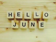 Bonjour lettres en bois d'alphabet de bloc de juin sur le fond en bois Photographie stock libre de droits