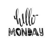Bonjour lundi Typographie tirée par la main d'affiche Citations inspirées Vecteur Photos stock