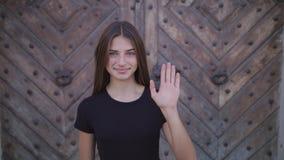 Bonjour, bonjour, main de ondulation de femme, accueil banque de vidéos