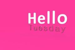 Bonjour mardi avec le fond rose Image libre de droits