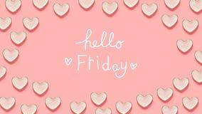 Bonjour message de vendredi avec beaucoup de plats de coeur Photos libres de droits