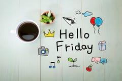 Bonjour message de vendredi avec une tasse de café Image libre de droits