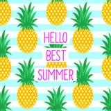 Bonjour mieux carte d'été avec les ananas mignons illustration de vecteur