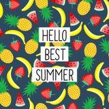 Bonjour mieux expression d'été sur le modèle sans couture avec les bananes jaunes, les ananas et les fraises juteuses illustration de vecteur